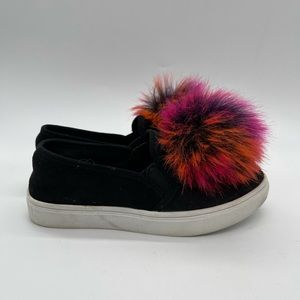 Stevies Flat Slip ons with Pom poms